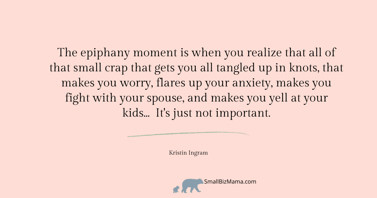 he epiphany moment is when you realize that all of that small crap that gets you all tangled up in knots, that makes you worry, flares up your anxiety, makes you fight with your spouse, and makes you yell at your kids...  It's just not important.